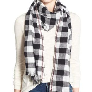 Madewell Springcheck Embroidered Plaid Scarf NWT